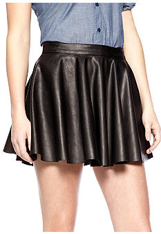 Chord Faux Leather Skater Skirt