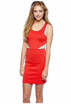 Chord Sleeveless Sheath Dress with Lace Insets