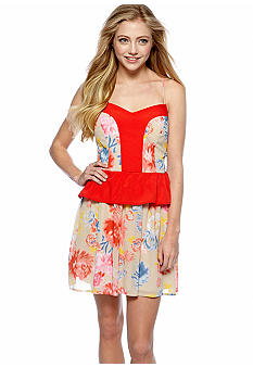 Chord Printed Peplum Dress