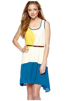 Chord Sleeveless Color Block Belted Dress