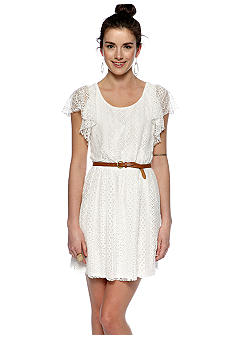 Chord Flutter Sleeve Belted Lace Dress