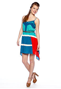 Chord Color Block Shark Bite Hem Dress