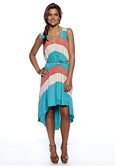 Chord Belted Color Block Dress with High Low Hem