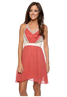 Chord Embroidered Crochet Inset Dress