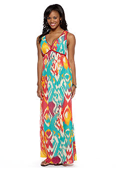 Chord Double V-Neck Printed Maxi Dress