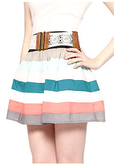 Stoosh Color Block Belted Skirt