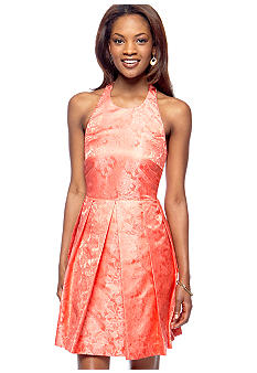 Caitlin Michelle Brocade Halter Dress