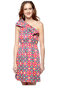 ellen & ollie Asymmetrical Printed Bow Dress