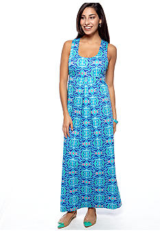 ellen & ollie Racer-Back Printed Maxi Dress