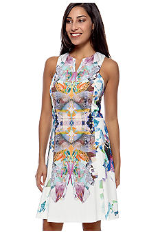 Hannah by Hannah Goff Sleeveless Notched Neck Printed Dress