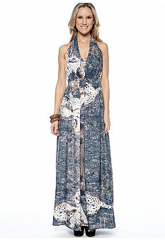 Stone Morris South White Leopard Halter Maxi Dress