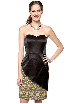 Megan Masters Strapless Sweetheart Peek-A-Boo Patterned Dress