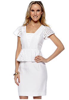 Megan Masters Maggie Eyelet Peplum Dress