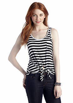 Rebellious One Stripe Tie Front Tank