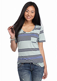 Pretty Rebellious Short Sleeve Stripe Pocket Tee
