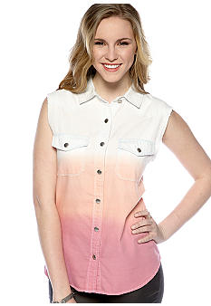 Rebellious One Sleeveless Dip Dye Denim Shirt
