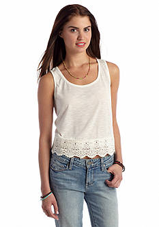 Rebellious One Solid Crochet Trim Crop Tank