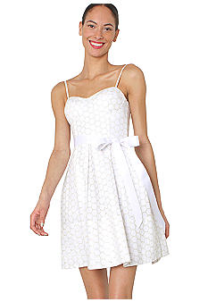 Isaac Mizrahi New York Circle Eyelet Dress with Self Tie Bow