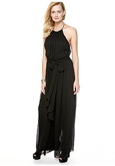 Isaac Mizrahi New York Halter Jumpsuit with Self Tie Belt