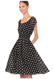 Isaac Mizrahi New York Polka Dot Dress with Smocked Waist