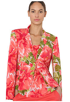 Isaac Mizrahi New York Floral Print Knit Blazer with Flap Pockets