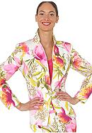 Isaac Mizrahi New York Stretch Sateen Floral Print Blazer