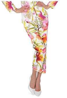 Isaac Mizrahi New York Animal Floral Print Stretch Sateen Cuffed Crop Pant