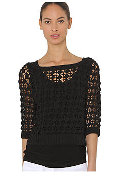 Isaac Mizrahi New York Crochet Sweater with Three Quarter Sleeves