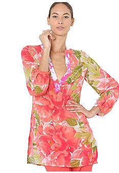 Isaac Mizrahi New York Floral Print Split Neck Tunic