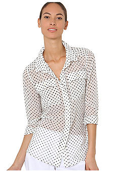 Isaac Mizrahi New York Polka Dot Button Down Blouse