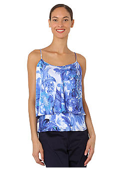 Isaac Mizrahi New York Floral Print Tiered Tank Top