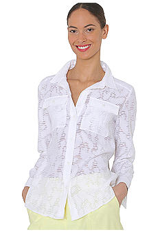 Isaac Mizrahi New York Button Up Burnout Blouse