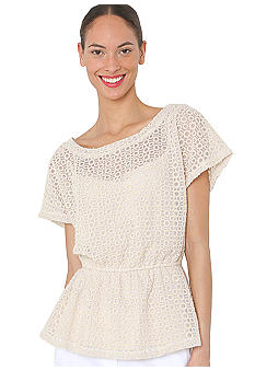 Isaac Mizrahi New York Netted Eyelet Top