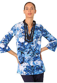 Isaac Mizrahi New York Three-Quarter Sleeve Floral Print Tunic