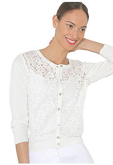 Isaac Mizrahi New York Lace Front Cardigan