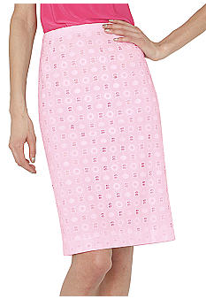 Isaac Mizrahi New York Eyelet Pencil Skirt