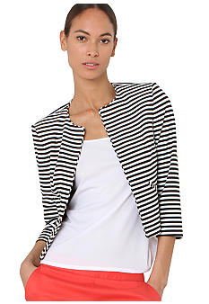 Isaac Mizrahi New York Three Quarter Sleeve Striped Ponte Jacket