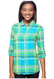 Overdrive Long Sleeve Printed Plaid Shirt