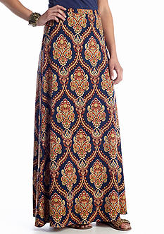 Lily White Jewel Knit Medallion Maxi Skirt