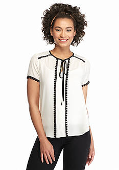 Lily White Daisy Trim Blouse