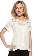 Miss Me® Sportswear Short Sleeve Crochet Top