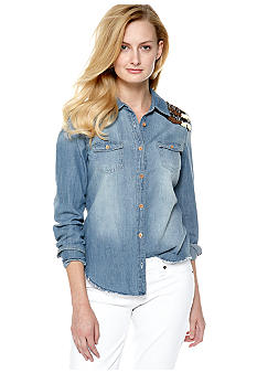 Miss Me Sportswear Embellished Shoulder Long Sleeve Denim Shirt