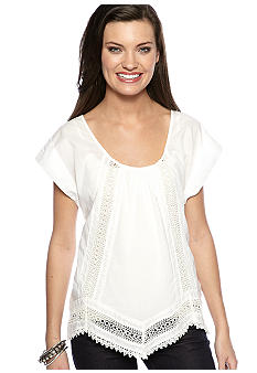 Miss Me Sportswear Scoop Neck Crochet Shirt