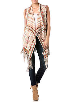 Miss Me Sportswear Multicolor Fringe Trim Knit Vest