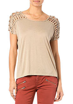Miss Me Sportswear Fringe Yoke Knit Top