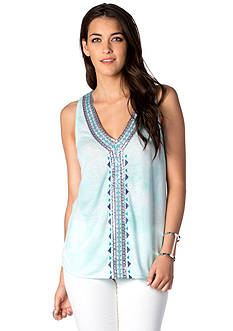 Miss Me V-Neck Embroidered Front Tank