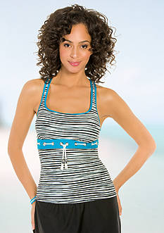 Eco Swim Sketch Stripe Racerback Tankini Swim Top