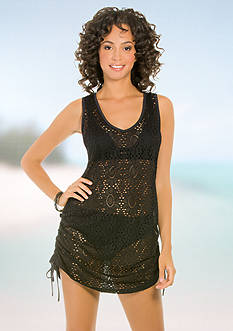 Eco Swim Crochet Side Shirred Cover Up Dress