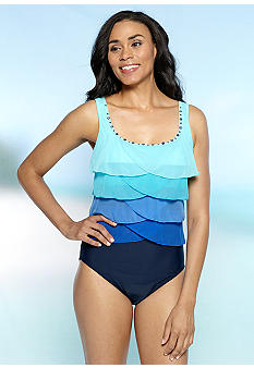 Ruby Rd/ Malibu Design Group Solid Mesh Embellished One Piece