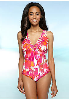 Ruby Rd/ Malibu Design Group Embellished V-Neck One Piece